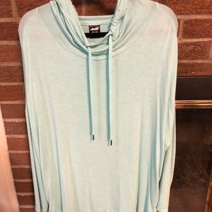 Silky mint green hooded top